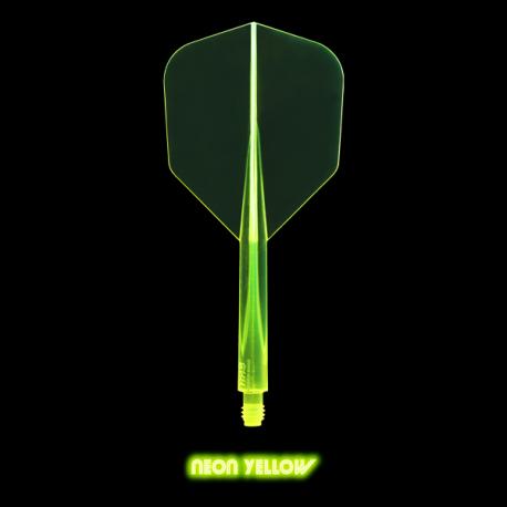 Penas CONDOR AXE Neon amarela shape curta. 3 Uds.